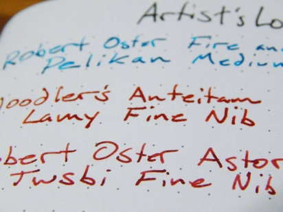 Artist's Loft Dot Journal Ink Test Close Up