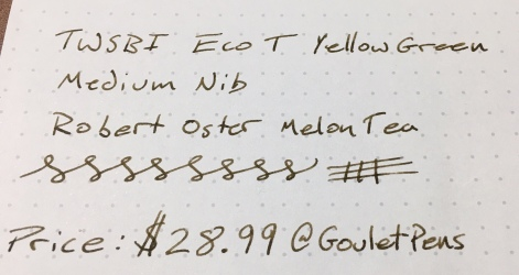 Twsbi Eco-T Yellowgreen Writing Sample Close
