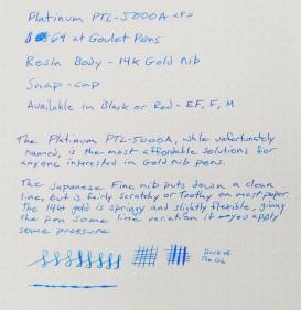 Platinum PTL-5000A Writing Sample