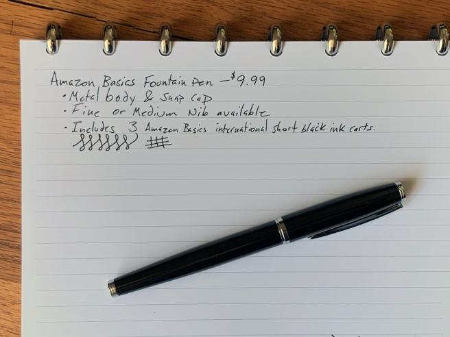 Amazon Basics Fountain Pen Writing Sample