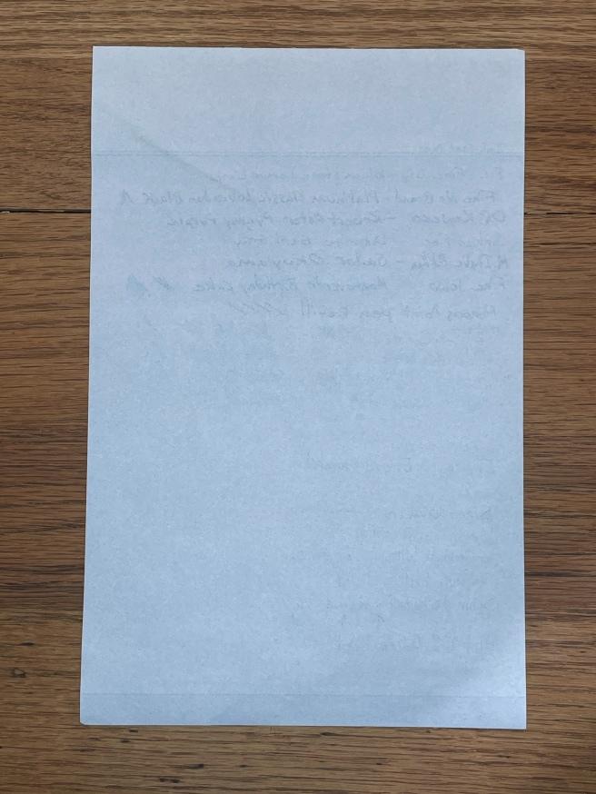 Vintage Writing Paper sample back